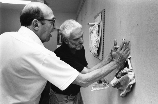 Anthony Caro and Clement Greenberg at Tyler Graphics artist's studio, Mount Kisco, New York, 1981. Photograph: Lindsay Green.