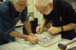 Ken Tyler and Anthony Caro working on his 'Hand Coloured Paper Sculpture' series, Tyler Graphics Ltd. artist's studio, Mount Kisco, New York, 1993. Photograph: Marabeth Cohen-Tyler.