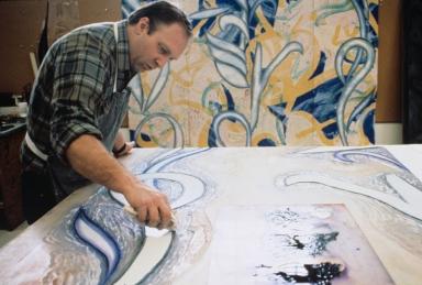 John Hutcheson inking woodblock for Steven Sorman's 'From away', Tyler Graphics Ltd., Mount Kisco, New York, 1988