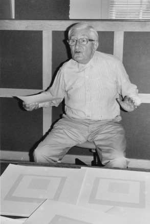 Josef Albers talking about his 'Gray instrumentation II' proofs at his studio, Orange, Connecticut, 1975