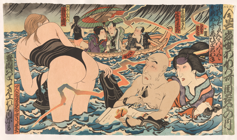 Masami Teraoka, 'Kunisada eclipsed' 1993, relief, intaglio woodcut, etching, aquatint and hand colouring. National Gallery of Australia, Canberra. Purchased 1993 http://bit.ly/2cMiKRJ