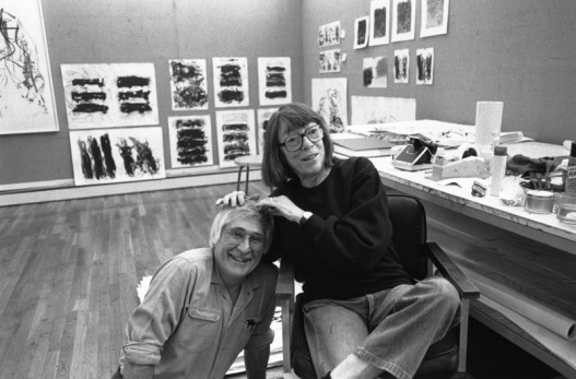 Kenneth Tyler and Joan Mitchell with proofs of Mitchell's 'Fields', 'Trees' and 'Weeds'