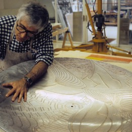 Kenneth Tyler working on one of the shaped magnesium dome plates for Frank Stella's 'Moby Dick domes'