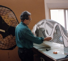 Frank Stella in the artist studio working on one of the maquettes for his 'Moby Dick Domes' series