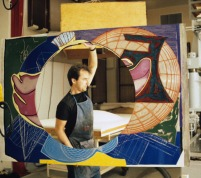 Mark Mahaffey carrying newly inked magnesium printing element for 'Stubb & Flask kill a Right Whale (Dome)' to paper mill for printing from Frank Stella's 'Moby Dick Domes' series, Tyler Graphics workshop, Mount Kisco, New York, May 1988. Photo: Marabeth Cohen-Tyler