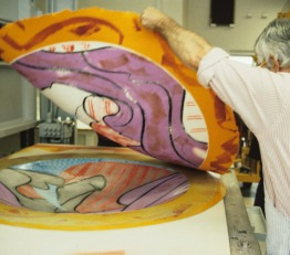 Kenneth Tyler lifts an experimental impression from a shaped magnesium printing element from one of Frank Stella's 'Moby Dick Domes' series of works, Tyler Graphics paper mill, Mount Kisco, New York, June 1988. Photo: Marabeth Cohen-Tyler
