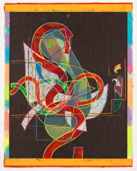Frank Stella, 'Pergusa three' from the 'Circuits' series 1982-84, colour relief and woodcut. National Gallery of Australia, Canberra