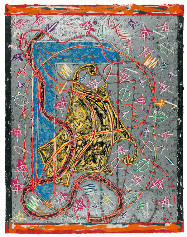 Frank Stella, 'Imola three II, state II' from the 'Circuits' series 1982-84, colour woodcut, screenprint, stencil. National Gallery of Australia, Canberra
