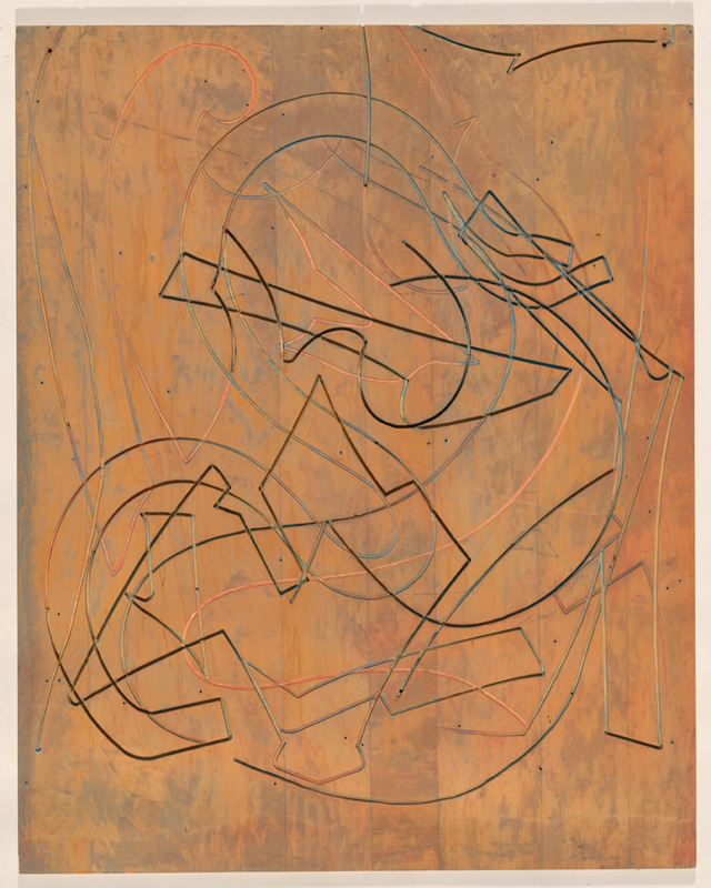 Frank Stella, 'Block II' 1981, matrix for the 'Circuits' series, laser cut plywood. National Gallery of Australia, Canberra