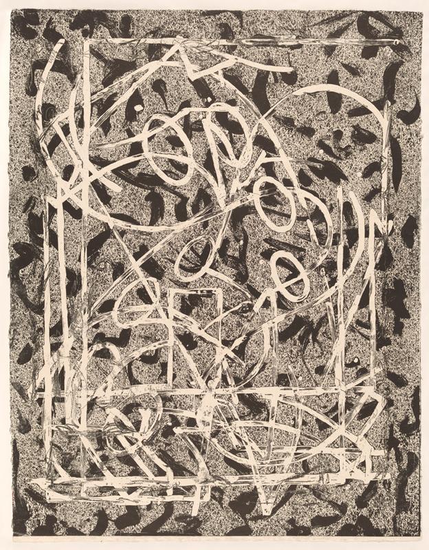 'Talladega five II' colour woodcut, engraving