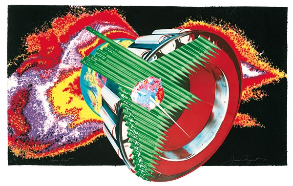 James Rosenquist Space dust 1989, paper pulp, planographic, collage, National Gallery of Australia, purchased with the assistance of the Orde Poynton Fund 2002 © James Rosenquist. Licensed by VAGA & Viscopy, Australia