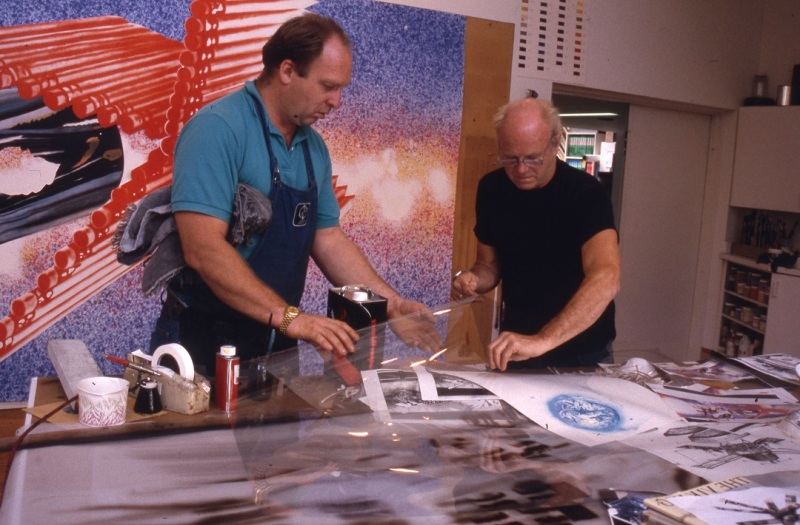 John Hutcheson and James Rosenquist working with mylar to prepare lithographic elements for Rosenquist's 'Time Dust', Tyler Graphics Ltd., Mount Kisco, New York, October 1991