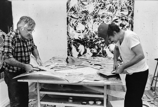 Kenneth Tyler and Frank Stella cutting etched magnesium plates for the 'Swan engravings' project, Tyler Graphics Ltd., Bedford Village, New York, 1981
