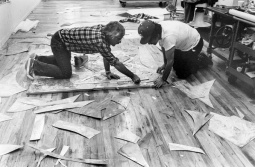 Frank Stella and Kenneth Tyler assembling magnesium plates for 'Swan engraving IV', Tyler Graphics Ltd., Bedford Village, New York, 1981.