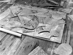 Detail of collaged magnesium plate for Frank Stella's 'Swan engraving IV', Tyler Graphics Ltd., Bedford Village, New York, 1981. Photo: Lindsay Green