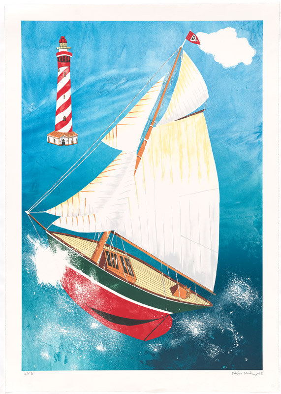 Malcolm Morley, Pamela running before the wind with a Dutch lighthouse, Lithograph on Rives BFK paper, 1998. Edition of 60.