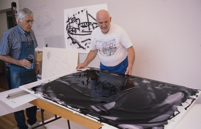 Malcolm Morley and Kenneth Tyler using lithographic tusche in preparation for blue colour separation for 'Pamela running before the wind with a Dutch lighthouse', Tyler Graphics Ltd, Mount Kisco, New York, 1998