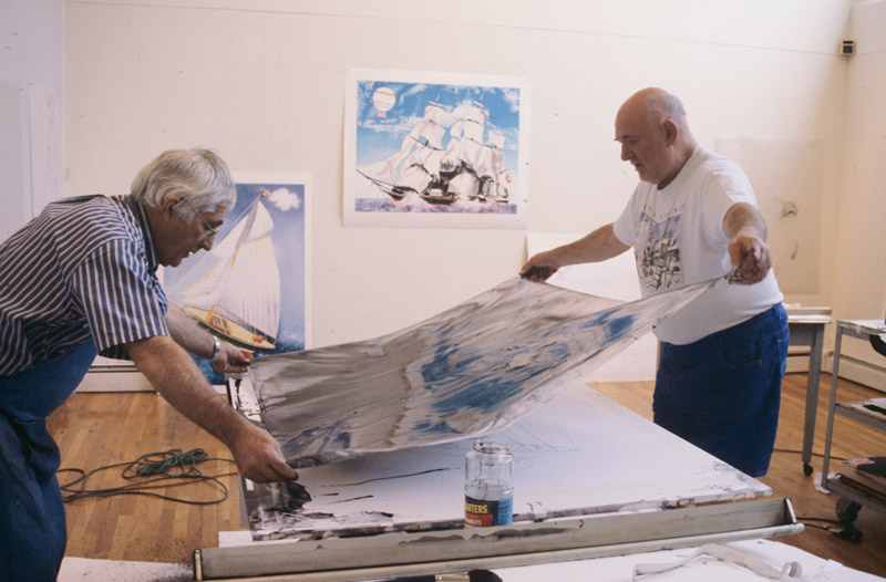 Kenneth Tyler and Malcolm Morley inspecting lithographic tusche in preparation for blue colour separation for 'Pamela running before the wind with a Dutch lighthouse', Tyler Graphics Ltd, Mount Kisco, New York, 1998