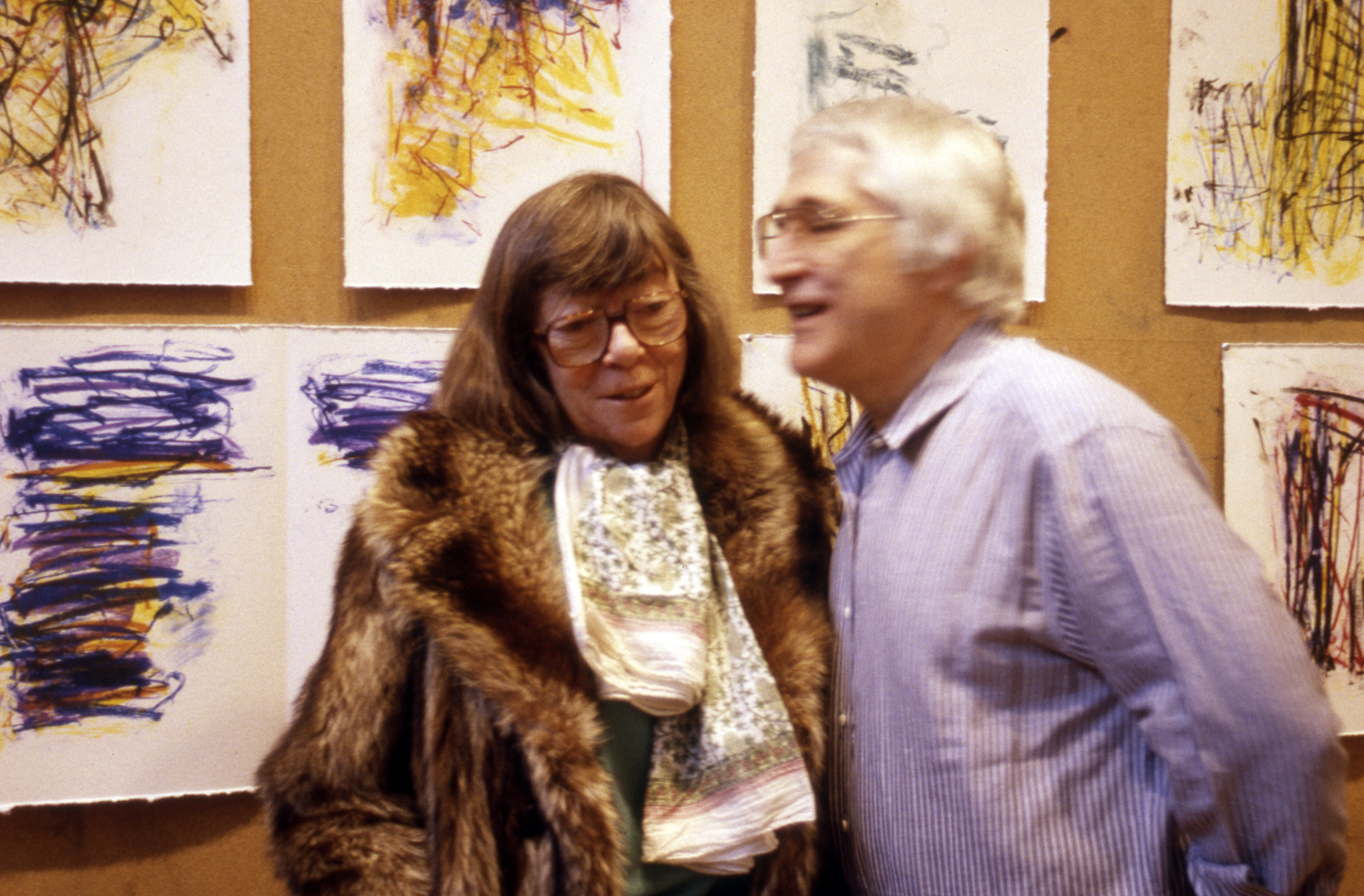 Joan Mitchell and Ken Tyler at the Tyler Graphics artist studio, Bedford Village, 1992.  Photo: Jim McHugh